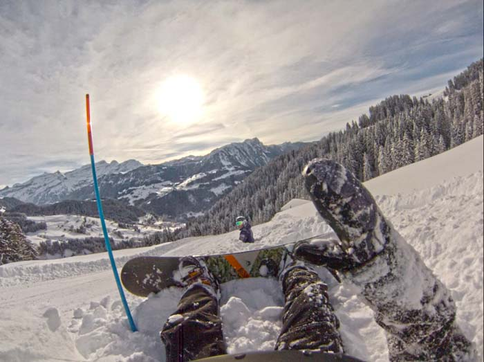 Snowboarding in Leysin, Switzerland